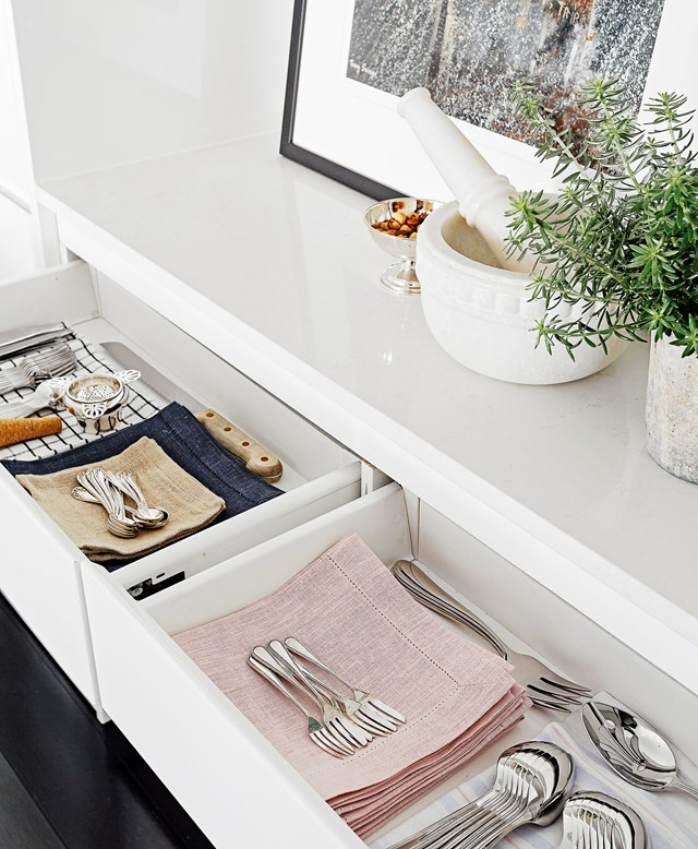 "**Clean out kitchen drawers and cupboards**<br><br>  What's hiding at the back of your kitchen cupboards? Do you really need 64 plates when you've only got four people in your household? [De-clutter your kitchen](http://www.homestolove.com.au/how-to-de-clutter-your-kitchen-3459|target=""_blank"") by simply culling your tableware and cooking utensil collection and clean as you go. Throw away broken items and donate unused goods to charity. Imagine the extra cupboard space!"
