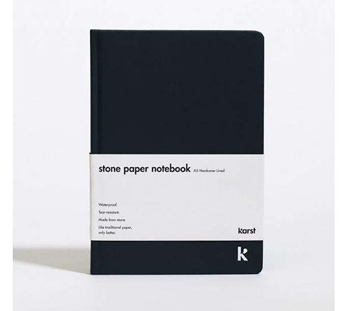 "Karst A5 lined hardcover notebook, $36, from [DesignStuff](https://www.designstuff.com.au/karst-a5-lined-hardcover-notebook-navy/|target=""_blank""