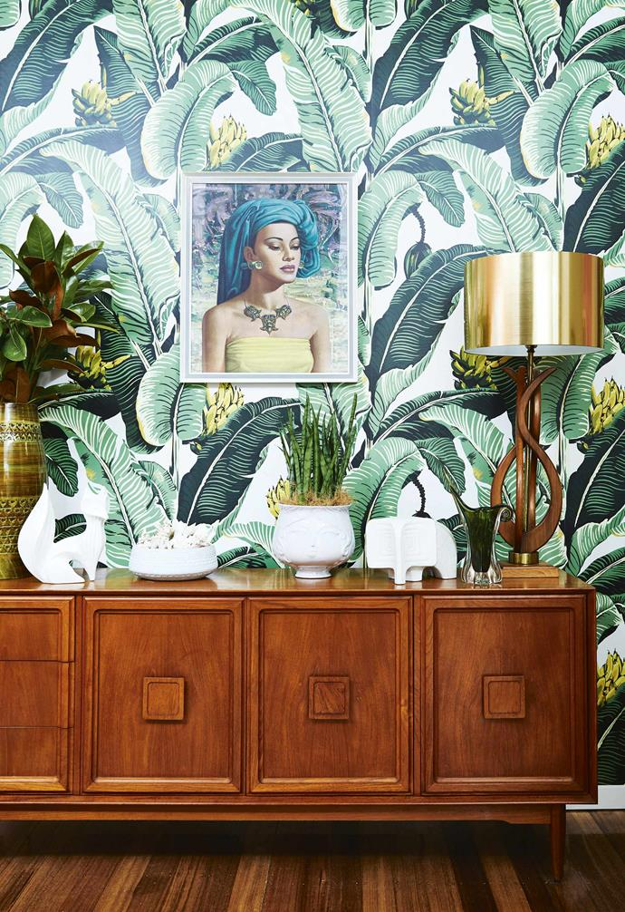 "**Dining area** A vintage sideboard is the base for treasured pieces such as [Jonathan Adler](https://www.jonathanadler.com/|target=""_blank""