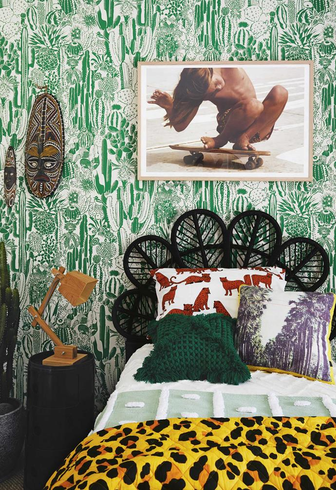 """**Bedroom** """"Bedrooms are a place to let your interior styling hair down,"""" says Vanessa of this playful space. Aimée Wilder's 'Cactus Spirit' design from [Just Kids Wallpaper](https://www.justkidswallpaper.com/