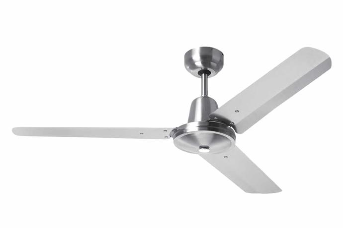 "HPM 'Hang Sure' 3-blade ceiling fan in Aluminium, $95, [Bunnings](https://www.bunnings.com.au/|target=""_blank""