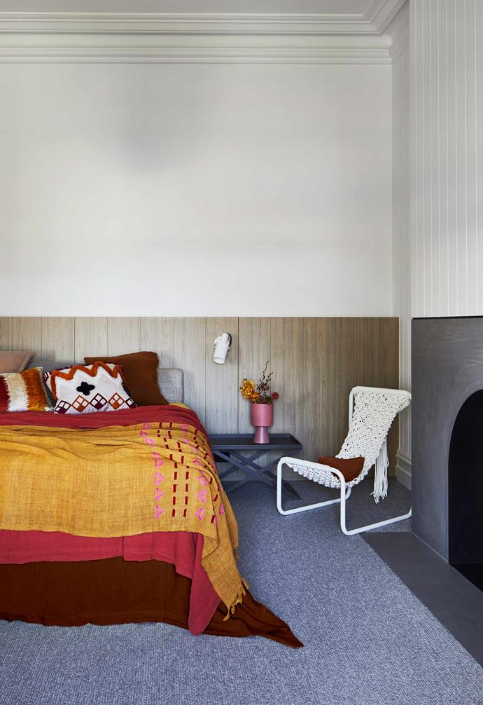 """**Main bedroom** Generous in size, this room opens to a full-width balcony. """"I made the rope chair in a macramé course run by Tamara Maynes,"""" Shaila points out. Maxalto bedside table, [Space](https://www.spacefurniture.com.au/