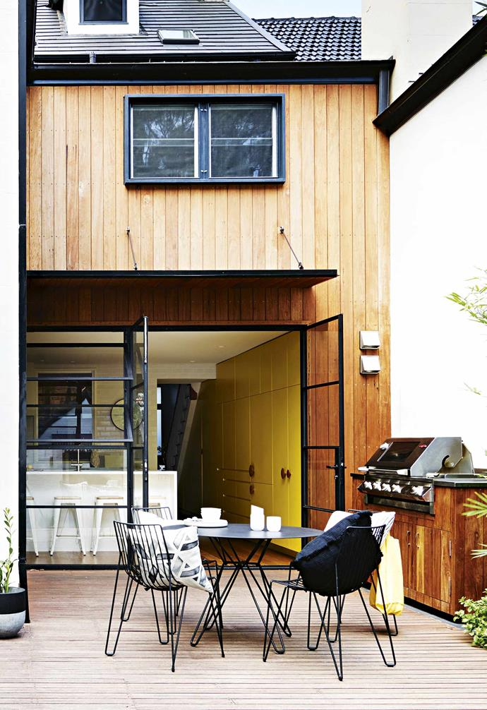 "After a five month renovation, this [Victorian terrace](https://www.homestolove.com.au/terrace-renovation-newtown-17820|target=""_blank"") was transformed into a striking family abode with the steel-framed doors being a major highlight."
