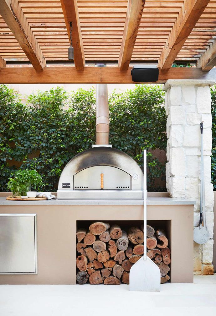 """**Outdoor kitchen** A wood-fired Euro Appliances pizza oven from [The BBQ Store](https://www.thebbqstore.com.au/