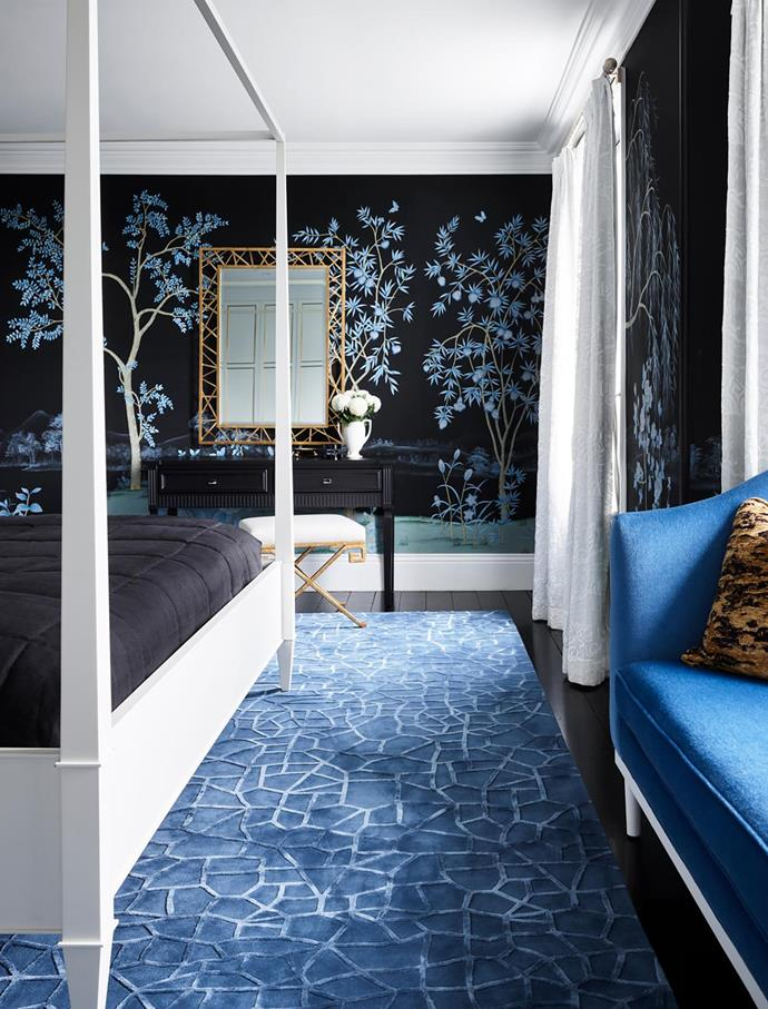 Emerson handpainted silk wallpaper, Griffin & Wong. Bed, Bolier. Dresser stool, Cromwell. Pollock mirror, Arteriors. Rug by Stacey Kouros, Designer Rugs.