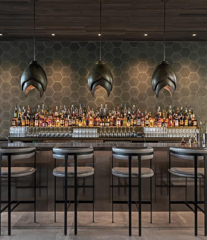 The bar at La Peer Hotel, the mingling spot for LA creatives.