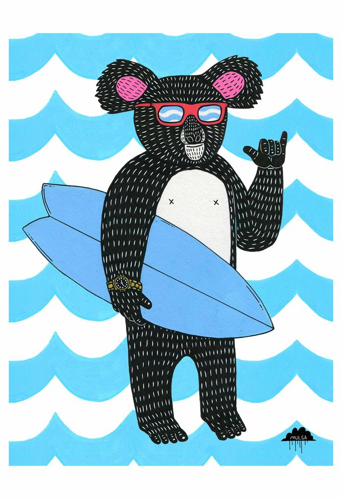 """**Mulga; Illustrator, Sydney**<br><br>Anyone familiar with the work of Joel Moore – or more likely his artistic moniker, Mulga – will recognise his playful and cheeky illustrations featuring bright, bold colours and distinctive black outlines. <br><br>Not one to shy away from a challenge, Mulga quit his desk job as a """"normal office-worker dude"""" in the financial planning industry to start life as a full time """"art dude"""" five years ago, and has since made his mark on everything from large-scale murals to children's books. """"I loved to create and draw, so I decided to have a crack at doing that. I guessed that making a living from art was possible, so I tried really hard and it paid off."""" <br><br>In Mulga's vibrant, colourful world, replete with anthropomorphic dreamscapes of lions smoking tobacco pipes and tigers in diamond sunglasses, interspersed with bearded hipsters and a healthy dose of good vibes, it's summer all year round. His originals start from $425.<br><br>*A selection of Mulga's artwork is available as part of [Samsung's 'The Frame'](https://www.homestolove.com.au/the-frame-samsungs-new-tv-looks-like-art-hanging-on-your-wall-16231