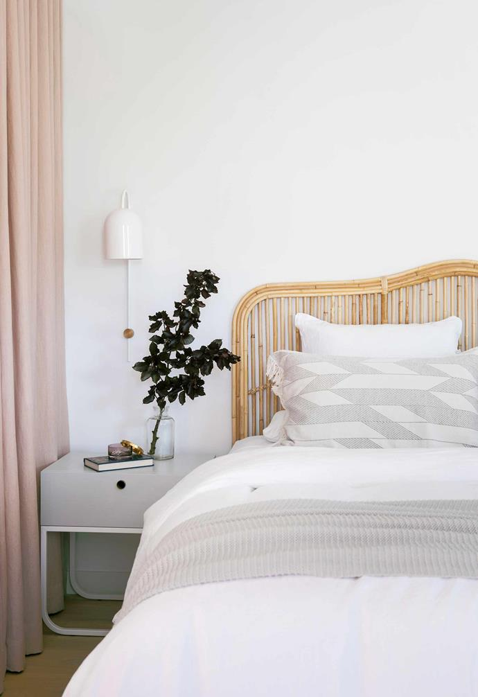 "**Main bedroom** Floor-to-ceiling blush drapes together with a [Naturally Cane](https://www.naturallycane.com.au/|target=""_blank""