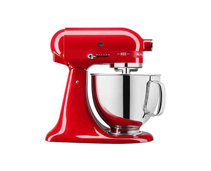 """KitchenAid Queen of Hearts Stand Mixer, $899 at [Harvey Norman](https://www.harveynorman.com.au/kitchenaid-100-year-queen-of-hearts-stand-mixer-passion-red.html target=""""_blank"""" rel=""""nofollow"""") <br><br> Industrial, contemporary and retro kitchens will all suit this fire-engine-red mixer. With variable speed control, a powerful direct drive motor and quiet operation, this machine delivers a flawless cooking experience, as well as providing a striking addition to your benchtop. <br><br> *Brought to you by [Falcon](https://www.andico.com.au/falcon/ target=""""_blank"""" rel=""""nofollow"""")*"""