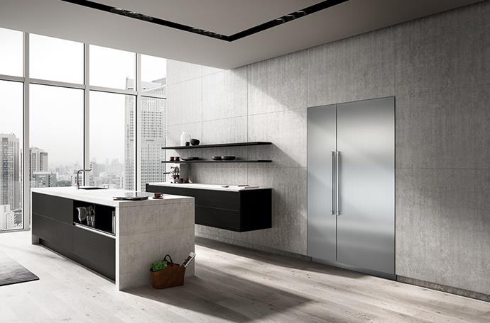 """Minimalist and sleek, this kitchen maintains its form with the use of streamlined appliances including the energy-efficient [**Liebherr Monolith refrigerator**](https://home.liebherr.com/en/aus/apac/household-appliances/built-in-appliances-household/monolith-apac/monolith-only-au-apac.html
