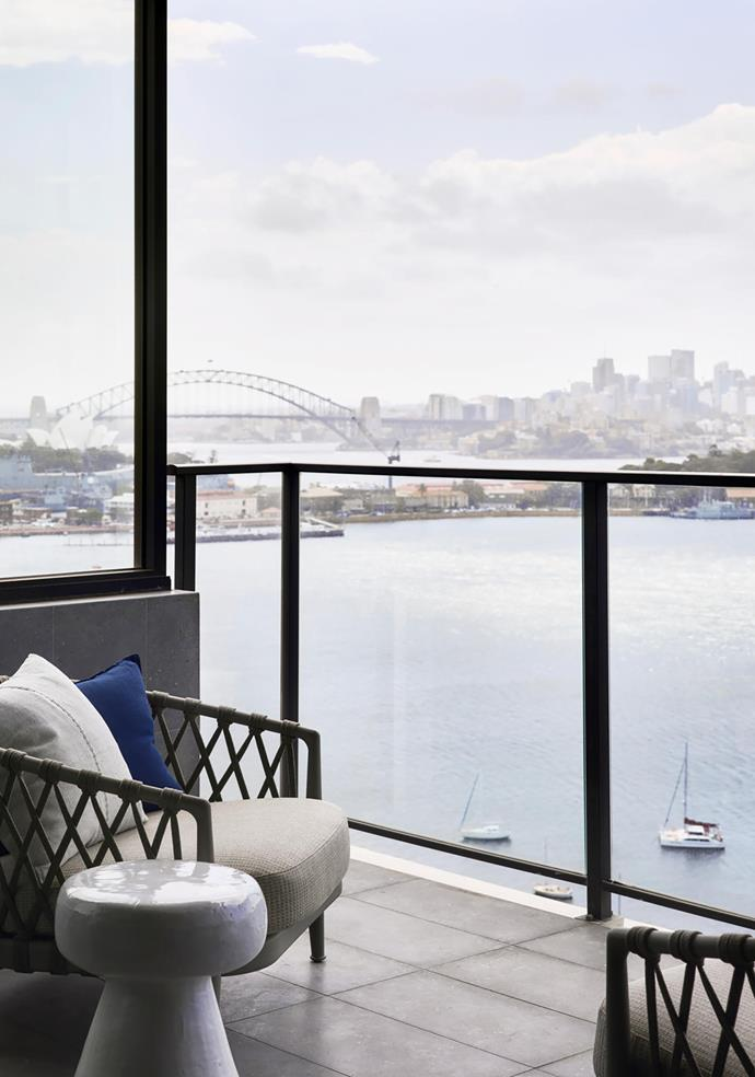 B&B Italia 'Erica' armchairs from Space drink in Sydney Harbour views.