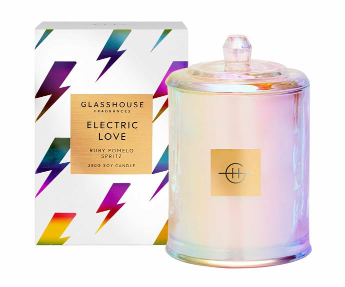 """Limited edition Electric Love candle, $49.95, [Glasshouse Fragrances](https://www.glasshousefragrances.com/