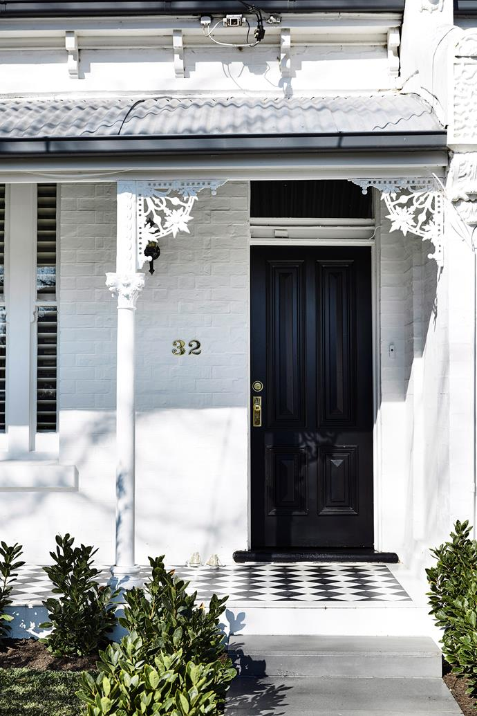 "A white painted brick exterior with black accents and statement patterned tiles has refreshed the facade of this [Victorian terrace](https://www.homestolove.com.au/victorian-terrace-modern-renovation-19859|target=""_blank"") while retaining is heritage charm."