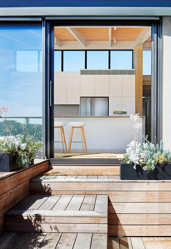 **Indoor/outdoor living** The metal-framed glass sliding doors and timber decking take care of practicalities, and planters filled with hardy succulents add sculptural interest at various levels.