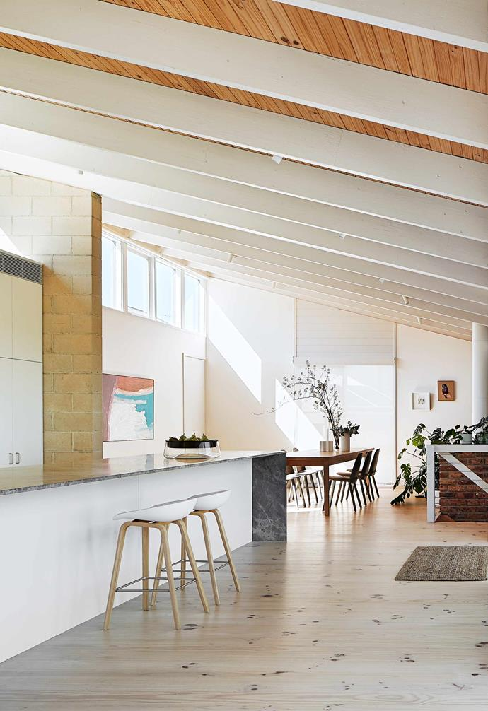"""**Kitchen** William made the 3.2m dining table, which can seat the whole family. Muuto 'Nerd' dining chairs, [Living Edge](https://livingedge.com.au/