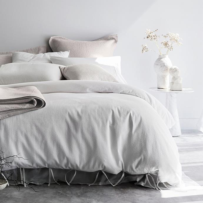 "Organic cotton 'Marramas' quilt cover, from $299.95, [Sheridan](https://www.sheridan.com.au/marramas-quilt-cover-s4w3-b110-c194-001-white.html|target=""_blank""