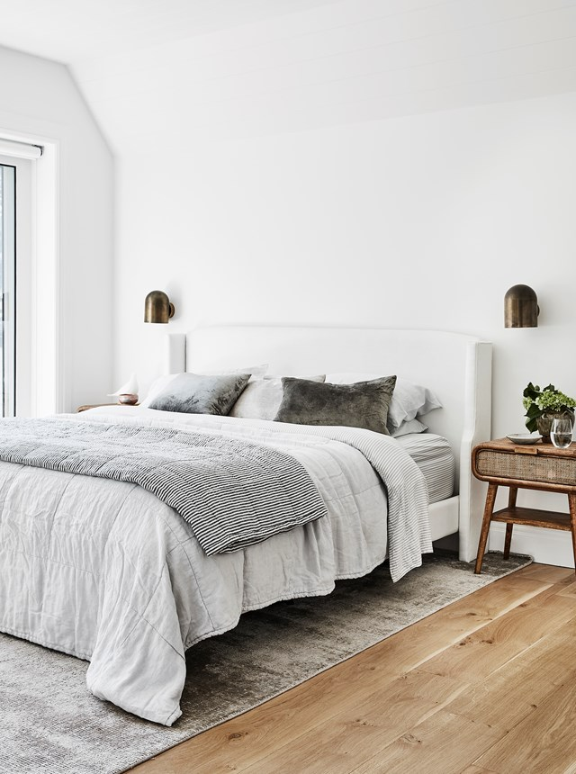A neutral colour scheme will help to make your bedroom feel less 'busy' and therefore cleaner.
