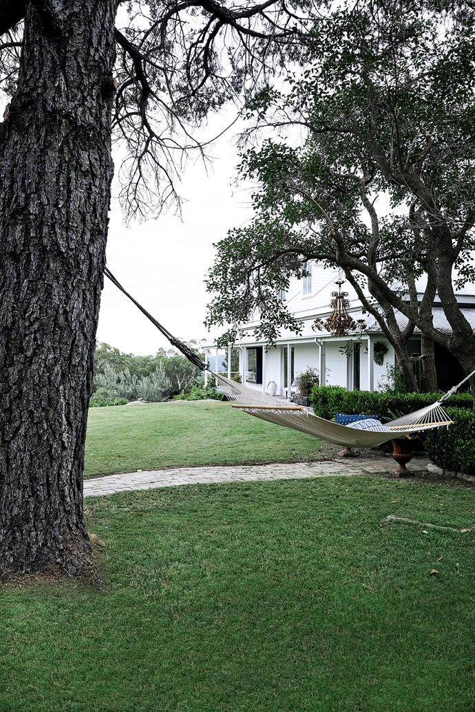 A hammock from Deer Willow has cushions on it from Orient House. The chandelier hanging in the tree was bought at an auction.