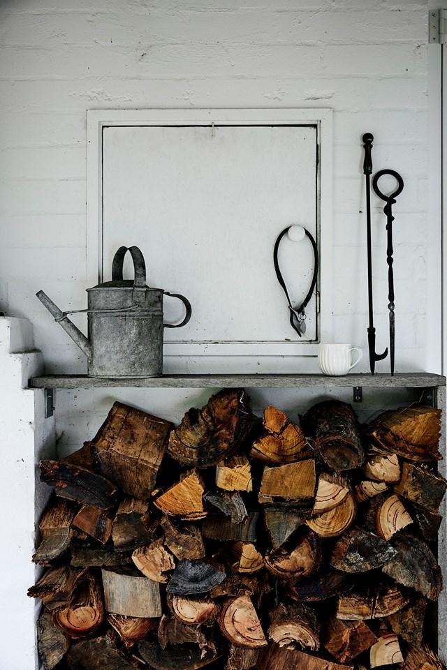 Firewood stockpiled for winter.