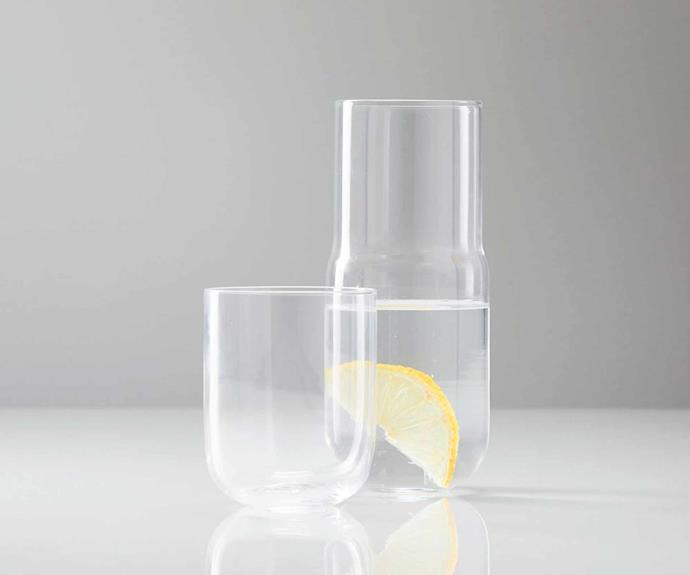 """Bedside carafe, $34 (with glass), [West Elm](http://www.westelm.com.au/bedside-carafe-glass-set-e2255