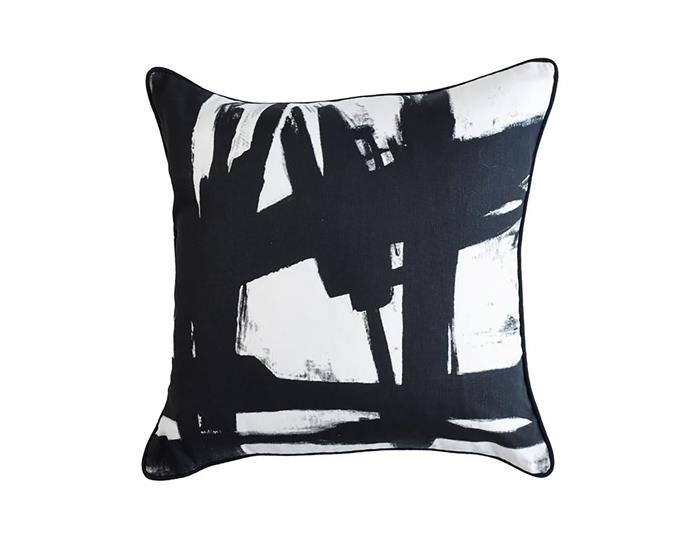 "Black paint black and white cushion, $60, from [Greg Natale](https://shop.gregnatale.com/collections/cushions-and-throws/products/black-paint-black-and-white-cushion|target=""_blank""