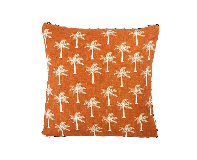 "Tiny palms seasgrass cushion, $165, from [Bonnie and Neil](https://bonnieandneil.com.au/products/tiny-palms-seagrass-50cm-cushion|target=""_blank""