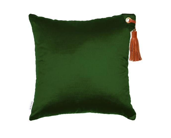 """Frida forest cushion, $150, from [Klovah](https://klovah.com/collections/all-cushions/products/frida-forest target=""""_blank"""" rel=""""nofollow"""")"""