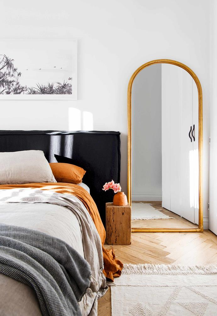 "**Main bedroom** Fabric bedhead from [Create Estate](https://www.createestate.com.au/|target=""_blank""