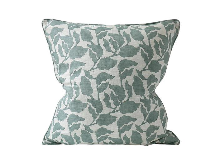 "Flores Celadon cushion, $161, from [Walter G](https://walter-g.com.au/collections/cushions/products/flores-celadon-cushion|target=""_blank""