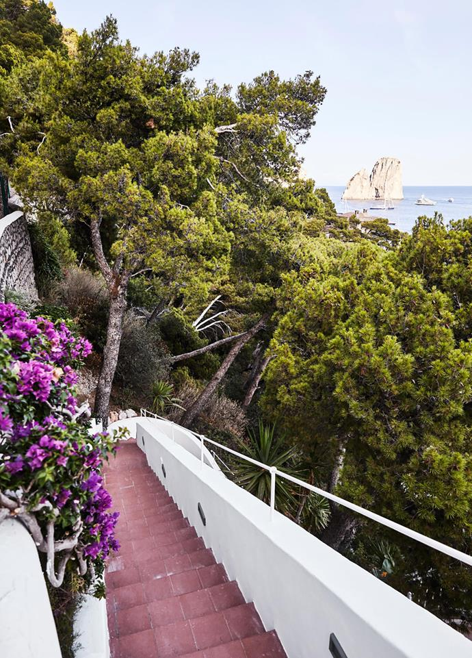 A private staircase on the property winds down the escarpment from the house to the beach. In summer, which is peak tourist season, the sea swells with boats.