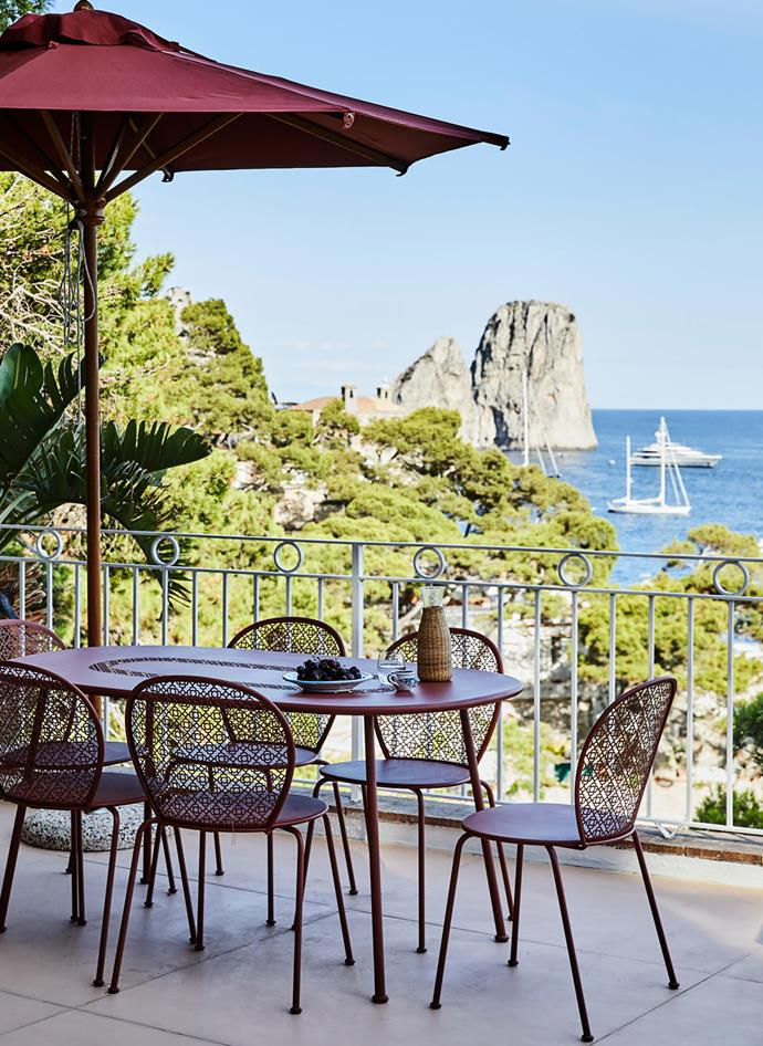 Breakfast, lunch and dinner are enjoyed on this terrace where the family can watch the activity on the water.