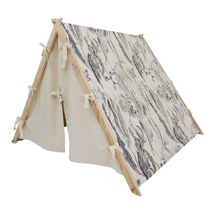 "Kate Swinson combines a love of nature and drawing with a passion for creating eco-friendly artisan design that explores and celebrates nature. <br><br> Charcoal grey Ted tent, $348, [Native Swinson](https://shop.nativeswinson.com.au/collections/ted-tents/products/charcoal-grey-tent|target=""_blank""