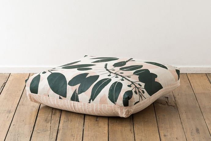 "Inspired by the Australian landscape, Ink & Spindle are dedicated to creating beautiful textiles that have minimal impact on the earth.  <br><br> Morten Bay Fig & Grass floor cushion, $190, [Ink & Spindle](https://shop.inkandspindle.com/collections/cushions/products/floor-cushion-moreton-bay-fig-grass?variant=42461442832|target=""_blank""