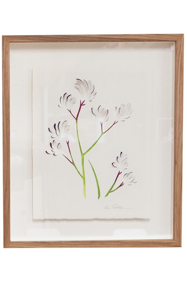 "Depicting precious Australian native flora, Lisa Rodden's carefully cut and hand painted works ""communicate the fragility and resilience of the Australian bush.""  <br><br> Purple Kangaroo Paw artwork by Lisa Rodden, $650, [Koskela](https://koskela.com.au/collections/all-artwork/products/lisa-rodden-artwork-purple-kangaroo-paw-30cm-x-35cm-framed