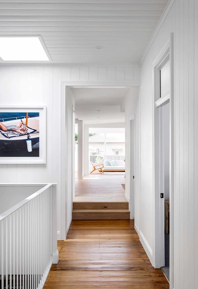 **Hallway** Ben and Lyndall retained the cottage's original floorboards in the home's front section. Print by Akila Berjaoui.