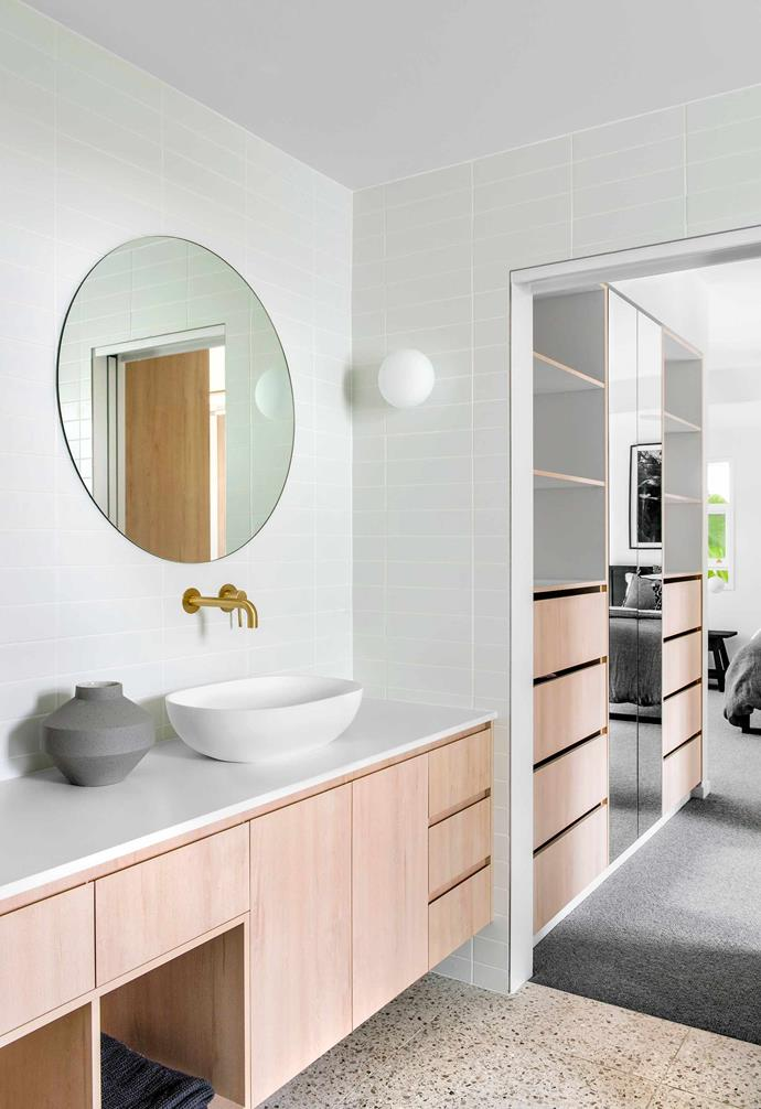 "**Ensuite** The terrazzo flooring is a mash-up of the room's colours. Polytec cabinetry in Nordic Oak by [iMake Interiors](https://www.imakeinteriors.com.au/|target=""_blank""