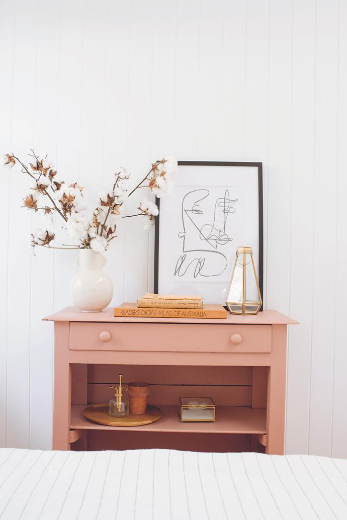 A coat of pink paint has turned an old dresser into a statement piece.