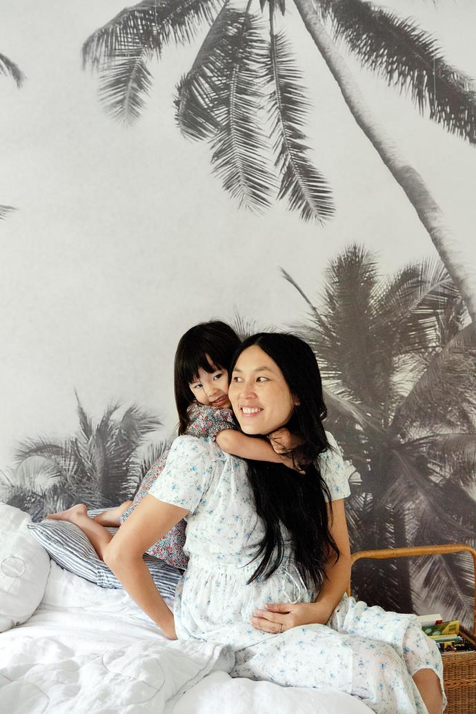 """I adore texture and pattern. Currently, I'm mixing ditsy floral prints with stripes and hand-dyed linen,"" says homeowner Dee Tang, pictured opposite with daughter Rafa."