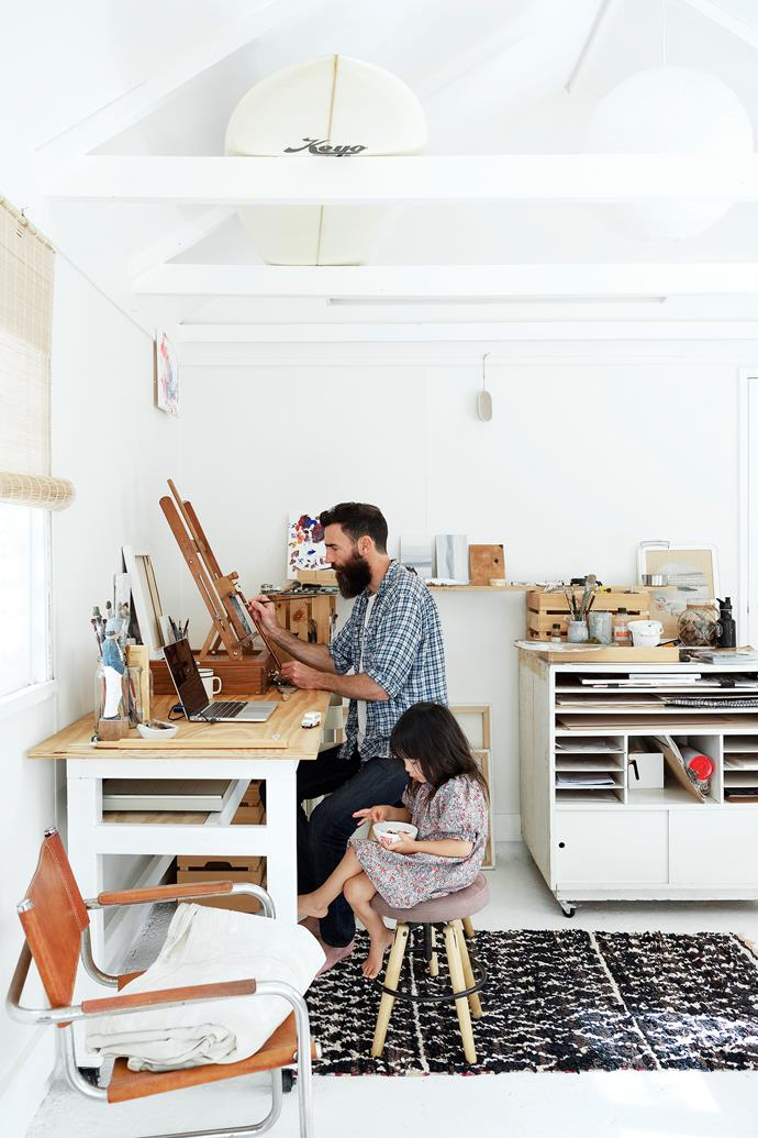 """Rafa keeps her dad company in the Sunray Shack, a garage the couple converted into a studio, where Desmond creates artworks for his business [8 Foot Walls](http://www.8footwalls.com/