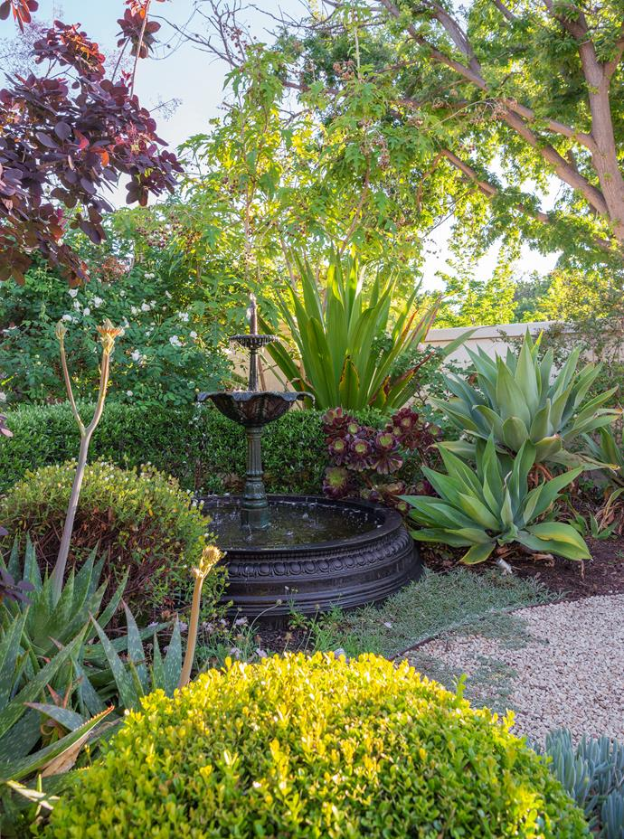 A bronze acanthus leaf fountain is a focal point.