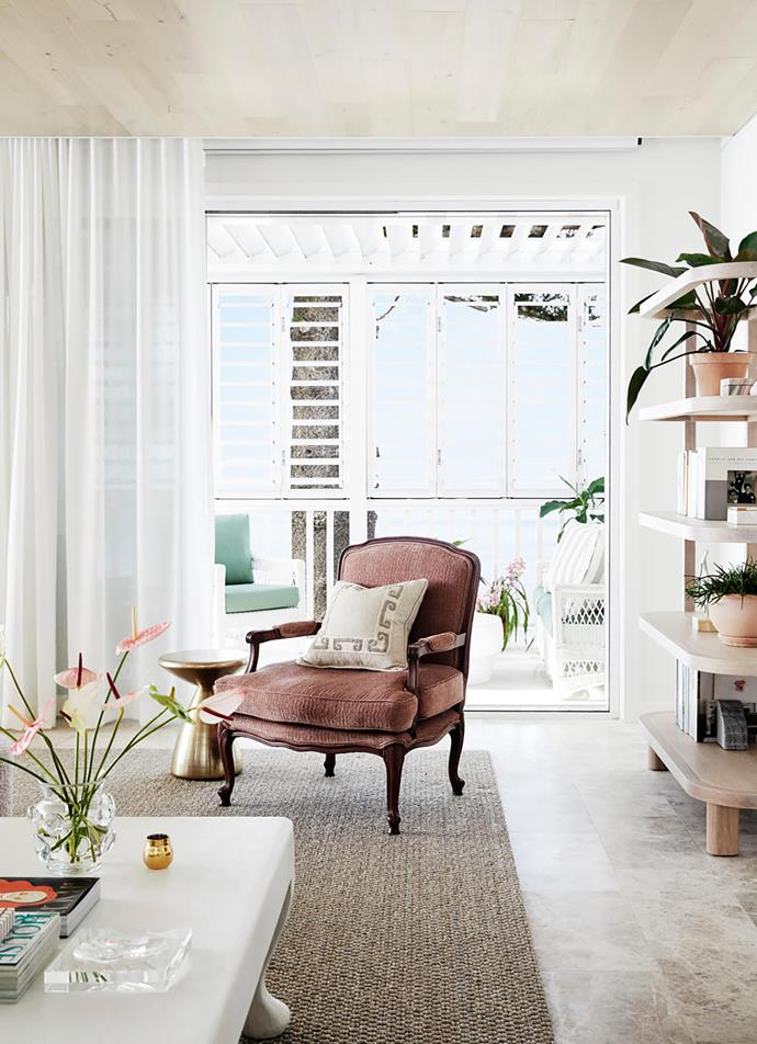 Vintage Louis armchair in Alhambra Toscana Siena 02 fabric, Chapman Upholstery.