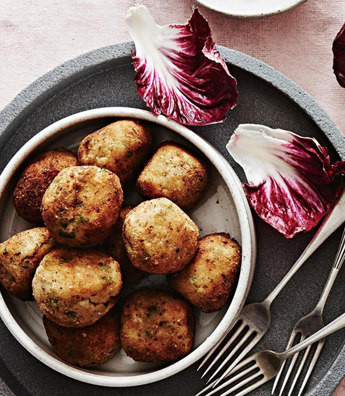 """**[Artichoke, pea and mint arancini](https://www.homestolove.com.au/artichoke-pea-and-mint-arancini-12523 target=""""_blank"""")** Indulge yourself with these golden balls of risotto and molten cheese; finger food has never been so refined."""