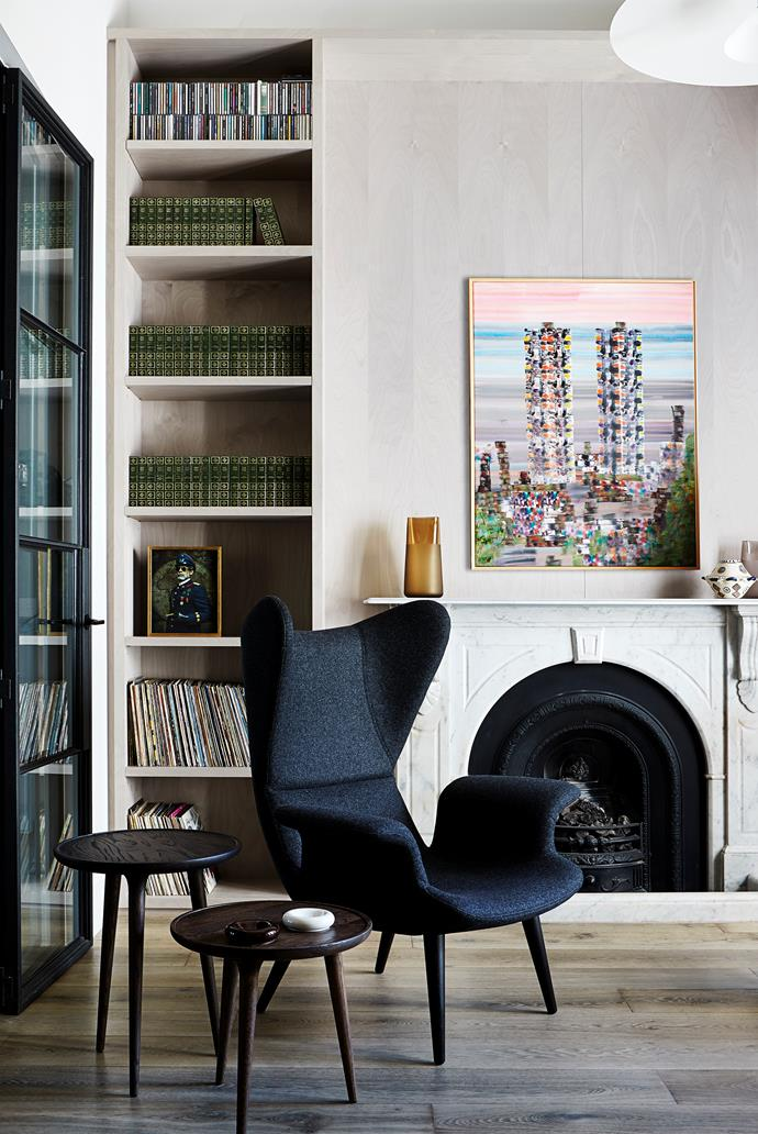 The Colonel by Lidia Vives Rodrigo (on shelf). On mantel, 'Horizon' glass vessels by Chris Connell with Angela Brennan earthenware and Richard Larter artwork, both from Niagara Galleries. Moroso 'Longwave' armchair from Hub. Mater 'Accent' tables from Cult.