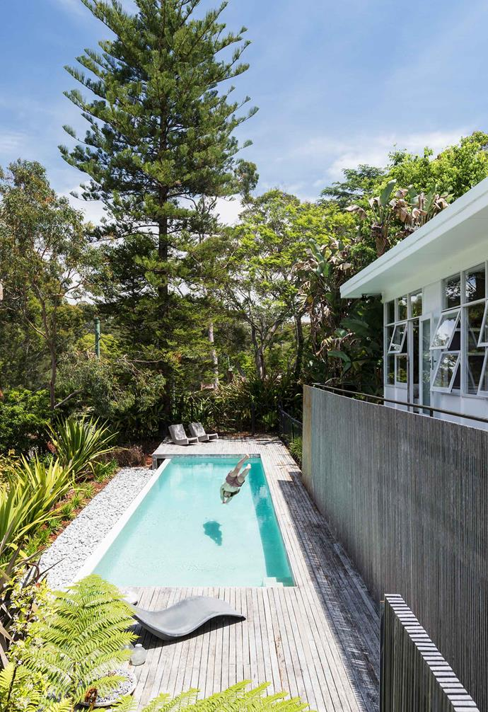 **Deck** Will in the pool, installed before the renovation. The greyed timber is ironbark. Near the steps is a mid-20th-century sun lounger found at a vintage shop.