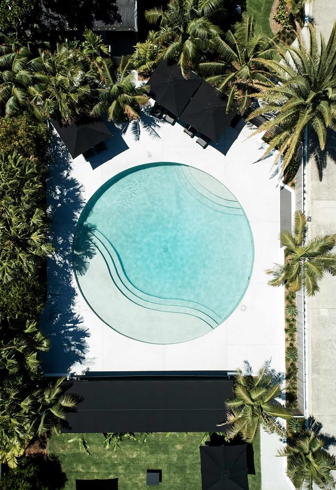 "When it comes to [swimming pools](https://www.homestolove.com.au/15-of-the-best-backyard-pools-17823|target=""_blank""), rectangles and kidneys are an easy choice for many backyards. But, if you have the space, why not experiment with something a bit more unique? Don't forget when planning your pool to play around with internal colours as well, as this will affect the way the water looks visually."