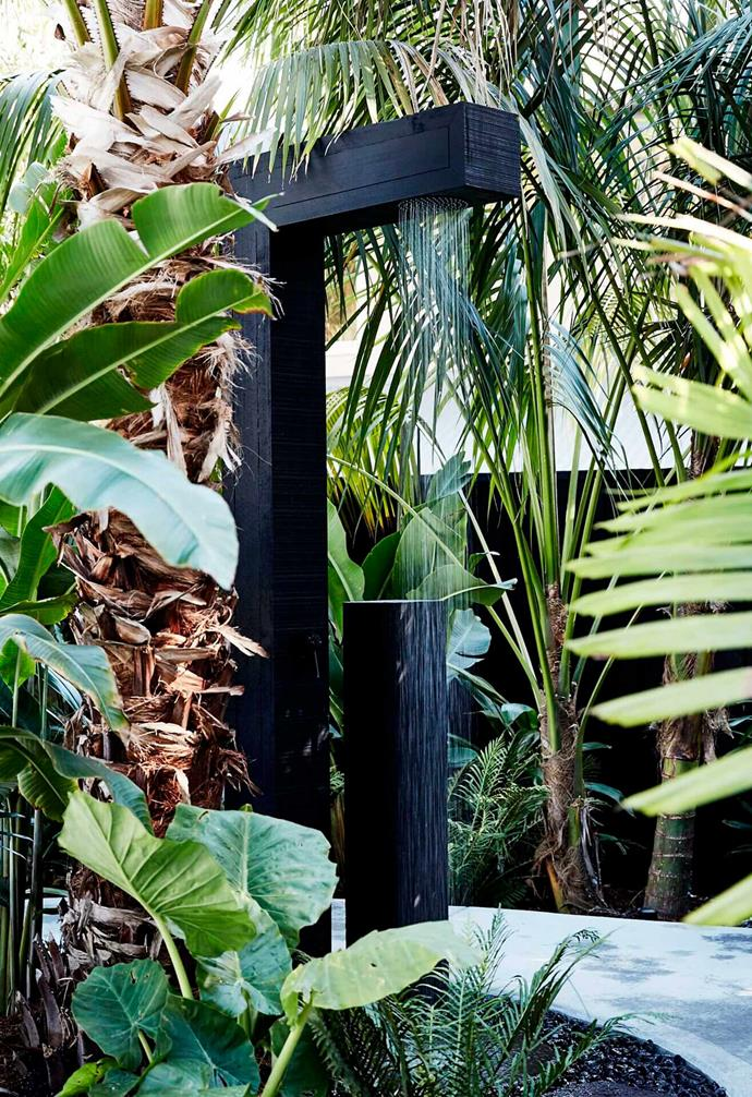 "There's nothing that says coastal design quite like the inclusion of an [outdoor shower](https://www.homestolove.com.au/outdoor-shower-ideas-19532|target=""_blank""). We love the dramatic look of this simple timber shower nestled amongst generous palm trees."