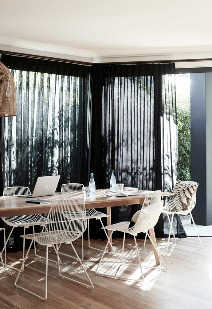"Sheer curtains have been a popular choice in [window finishes](https://www.homestolove.com.au/types-of-window-coverings-6899|target=""_blank"") and are beloved for their ability to still allow ample natural light to filter through. At The Bower the sheer curtains come in black, adding a cosy and intimate touch without blocking out too much sunlight."