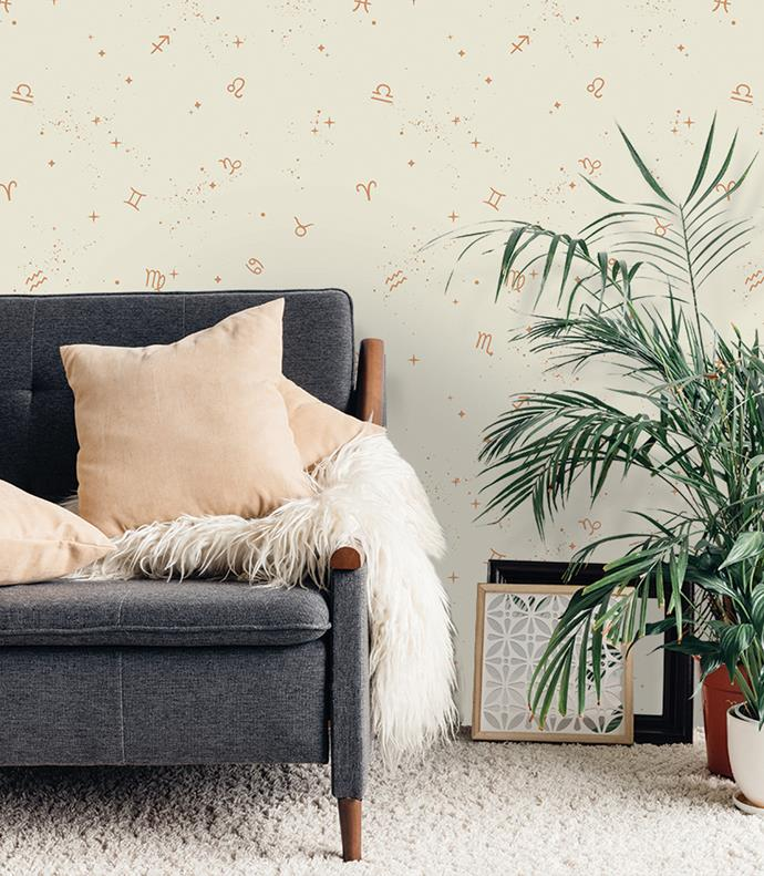 The 'Astrology' wallpaper in Copper Stardust will make a subtle-yet-chic statement in any space.