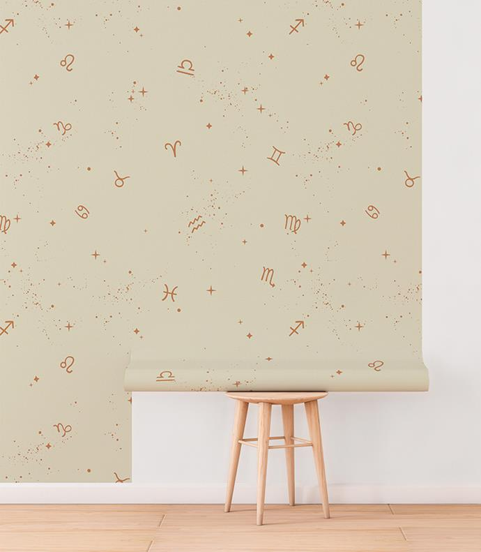 "'Astrology' wallpaper in Copper Stardust, [Tempaper](https://tempaper.com/astology-copper-removable-wallpaper|target=""_blank""|rel=""nofollow"")"