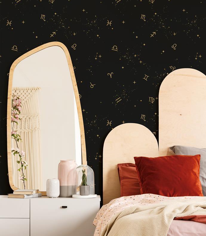 "'Astrology' wallpaper in Twighlight Black, [Tempaper](https://tempaper.com/astology-black-removable-wallpaper|target=""_blank""|rel=""nofollow"")"